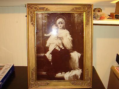 Antique Madonna (Mary) & Baby Jesus On Glass 1900 Picture