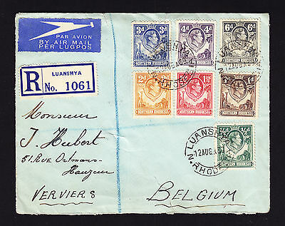 1939 Northern Rhodesia KGVI stamps on registered cover from Luanshya to Belgium