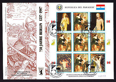 Paraguay 1987 First Day Cover 750 Jahre Berlin cachet Painting Art stamp sheet