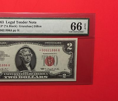 1963 -$2 Legal Tender ****STAR****Red Seal UNCIRCULATED NOTE , PCGS 66PPQ Gem.