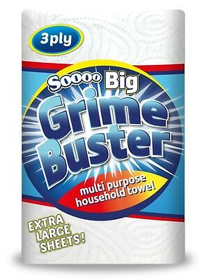 Grime Buster 3 Ply Multi Purpose Industrial Kitchen Paper Towels Rolls - 12 Pack