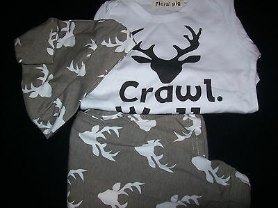 Infant Onesies_Crawl Walk & Hunt 9-12 Months with Long Pants and Hat_New in Pack