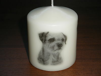 Candle Picture of Border Terrier Dog Can be Personalised Gift Birthday Love New