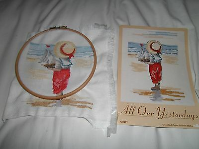 COMPLETED CROSS STITCH  with embroidery ring All Our Yesterdays - Yachting