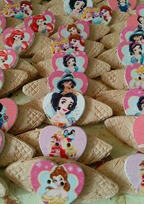 JOB LOT 10 NEW/HANDMADE  PRINCESS THEMED WOODEN BROOCHES (party bags,fetes etc)