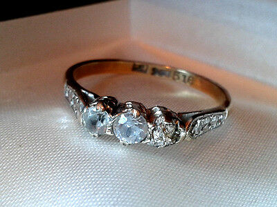 Ring 1940S engagement Vintage 9ct Gold Diamond Eternity stamped hallmarked