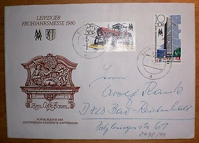 DDR LEIPZIGER MESSE 1980 Traktor + Kaffeebaum 2498-99 Brief GERMANY Cover