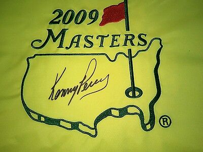 2009 Masters flag signed Kenny Perry Augusta National