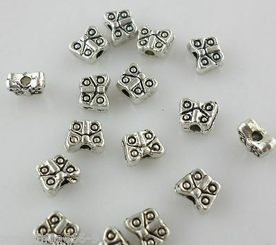 80pcs 4*5mm Antique Silver Mini Butterfly Spacer Beads Charms Bracelet Beading