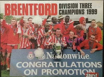 1999 A4 Football TEAM picture poster BRENTFORD DIV 3 CHAMPS, COX Bolton on back
