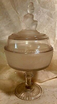 "Westward Ho Frosted Glass Pioneer 11"" Compote LG Wright c-50's"