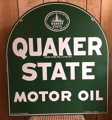 Vintage Quaker State Oil Double Sided Tombstone Porcelain sign