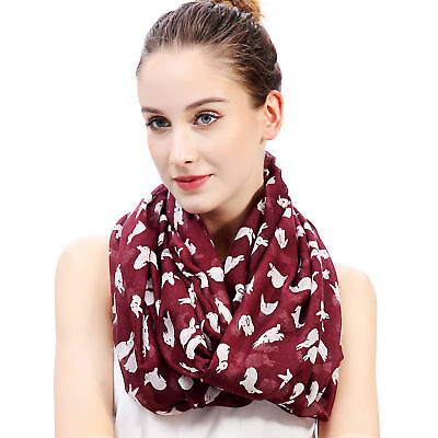 Rabbit Bunny Print Women's Infinity Loop Scarf Christmas Easter Day Gift