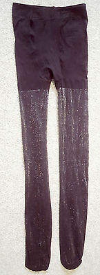 Black Silver Glitter Sparkle Tights Hosiery Sparkly Age 11-14 Dance Party UK New