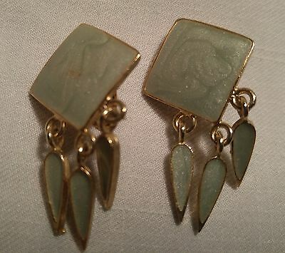 Vintage Green Diamond & Gold with Dangle Clip Earrings