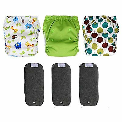 3-pack Pocket Cloth Diapers with Charcoal Bamboo Inserts, Newborn Baby 6-14