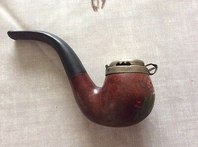 Real Wooden Lidded Decorated Briar Pipe