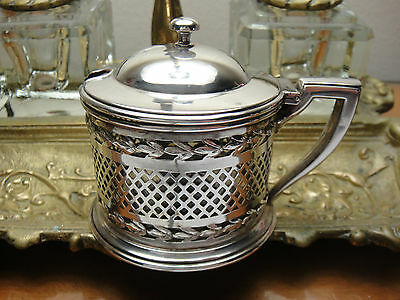 Antique Sterling Silver Mustard Pot By La Pierre With Liner Beautiful Condition!