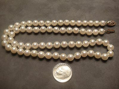 "New 18"" Beautiful Akoya Pearl Necklace 6.2-6.4 Mm/14K Solid Yellow Gold Clasp"
