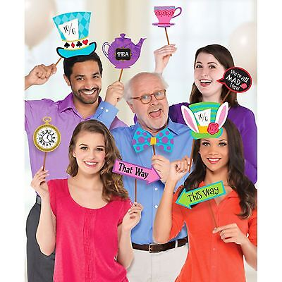 13 x Mad Hatter Tea Party Photo Booth Selfie Prop Kit Cup Sign Clock Wonderland