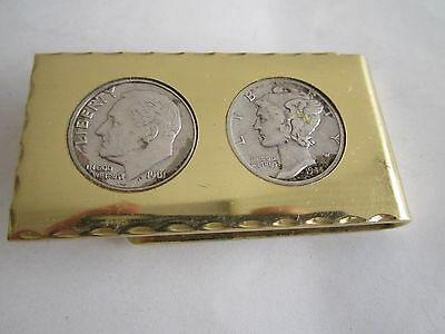 2 Silver Dimes(1940'S & 1960'S) On MONEY CLIP+1 Old Cent US Coin: BIG SALE 2 PCS