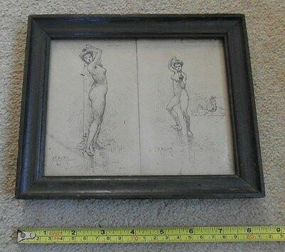 RARE Victorian Antique Pencil Drawing of Female Nude - Fencing - Signed Maury