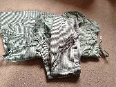 girls gingham school dresses, green, size 10-11 years