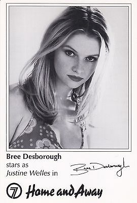Home And Away Tv Soap Bree Desborough As Justine Welles Signed Fan Card