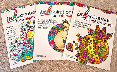 Adult Coloring Book Lot of 3 Inkspiration series Cats Animals Quotes NEW