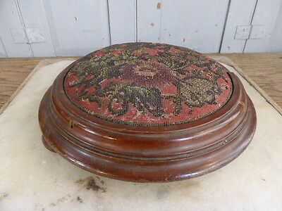 Antique mahogany beaded footstool