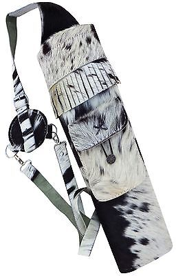 Real Cow Hair Leather Back Side Arrow Quiver Archery Product Aq-118 H