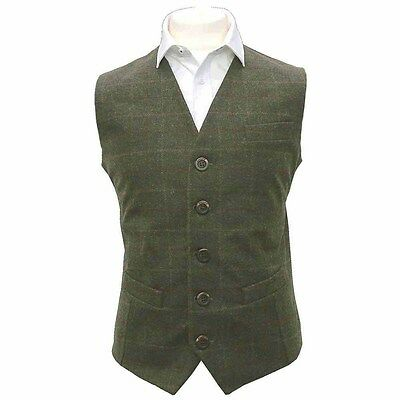 Men's Heritage Check Moss Green Waistcoat, Tweed, Tailored Fit
