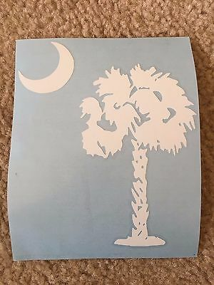 South Carolina Flag Palm Tree & Moon White Decal, 6""