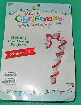 Kit makes 3 Candy Cane Bead ornaments clear beads, red New