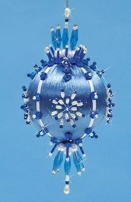 "Kit makes Collector Ornament ""Shades of Blue"" Satin ball, sequins, beads"