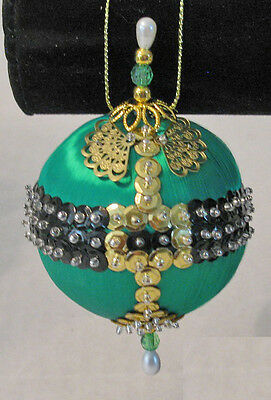 "Kit makes 2 ""Elfin' Fun"" Ornaments green satin ball, sequins, findings"