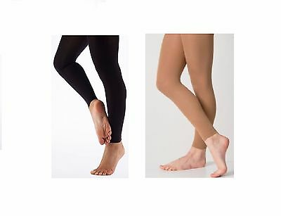 Adult Women's Lady Footless Dance Tights Soft Opaque with Spandex Black - Tan