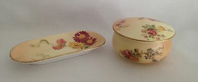 Royal Worcester Porcelain Pin Tray and Trinket Box Hand Painted Flower Design