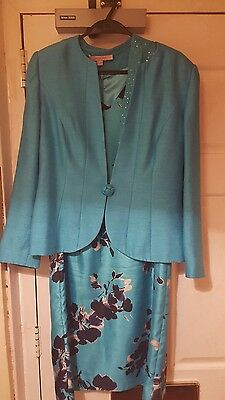 JACQUES VERT Ladies turquoise outfit with jacket bolero and dress Size 14