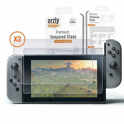 Orzly Premium Tempered Glass Screen Protector TWIN Pack for Nintendo Switch