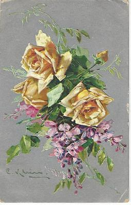 Artist C Klein -  Beautiful Yellow Roses & Pink Flowers Silvery  Background Bb