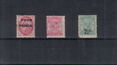 Tonga 1891-93 Three lightly mounted mint stamps