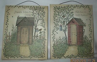 Wood Plaque, Outhouse Pictures, Wire Hangers,  5 in. x 6 in.