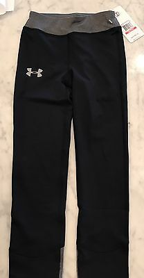 UNDER ARMOUR GIRLS Kids Youth XSM UA Black Fitted Cold Gear Yoga Pants NWT