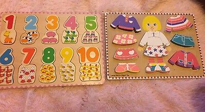 Wooden Toy Number/shape Puzzle And Till Bundle
