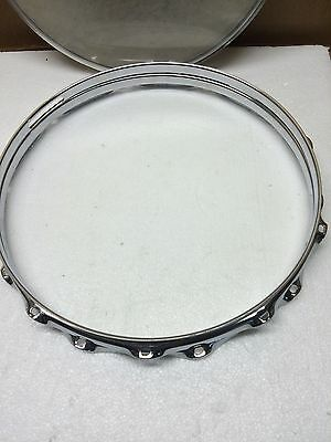 """14"""" Ludwig 10 Lug Snare Drum Rims / Hoops With Heads - A820"""
