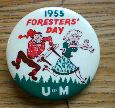 "Colorful 1955 University Of Minnesota Foresters' Day Lumberjack Maiden 2 1/4""Cel"