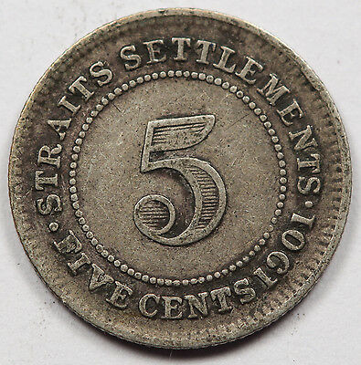 STRAITS SETTLEMENTS 1901 5 CENTS Silver Coin Victoria VF KM#10 Original toning
