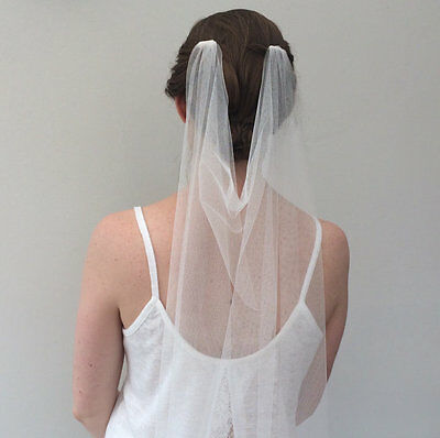 "Ivory chapel wedding veil 90"" 1 tier Drape style veil with combs."