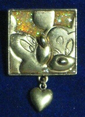 "Minnie Kissing Mickey Love Pin [Official Disney Product] Brass 1.25"" x 1.5"""